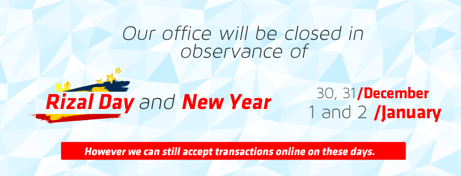 our office will be closedin observance of christmas and new year
