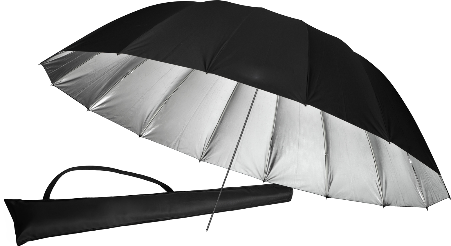 Silver parabolic umbrella for Studio Photography by Photozuela